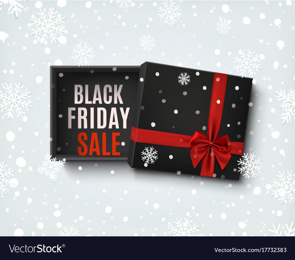 Black friday sale design opened black gift box vector image