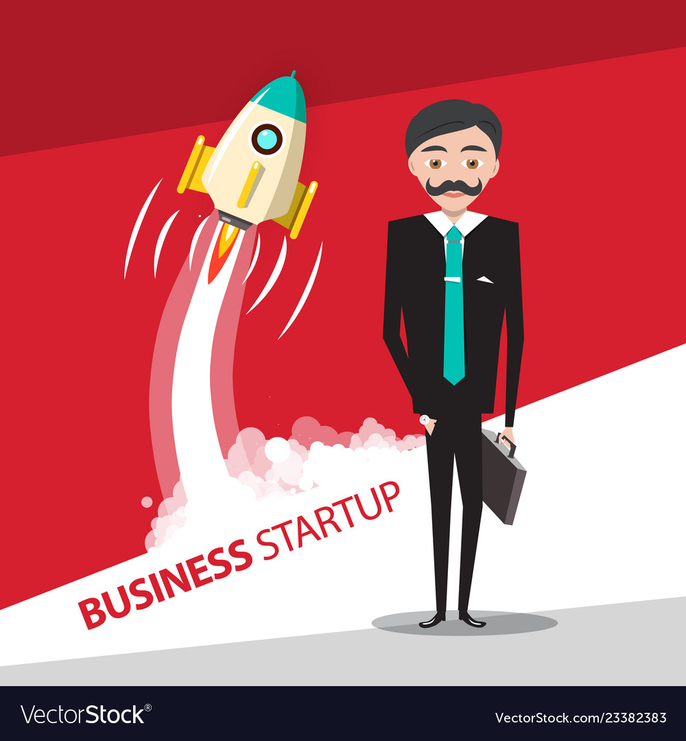 Business startup design with rocket launch and
