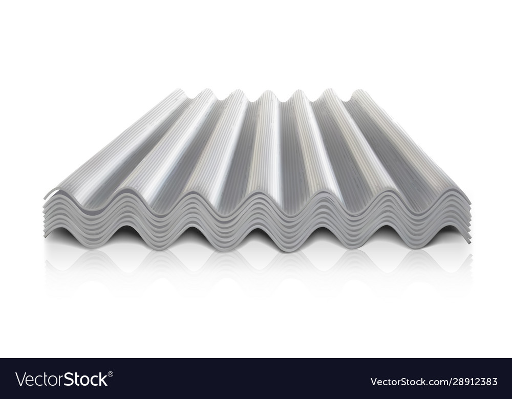 Corrugated roofing on a white