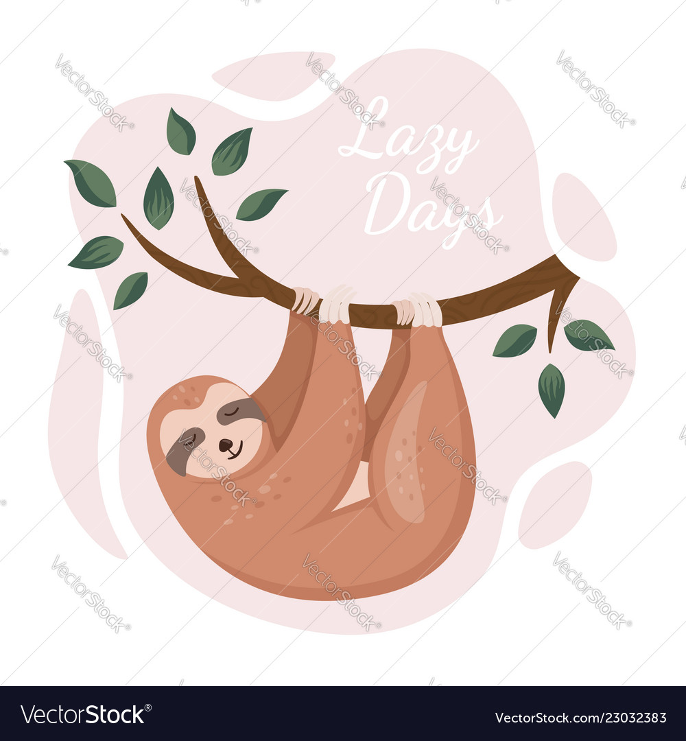 Cute sloth hanging on tree in a jungle cartoon