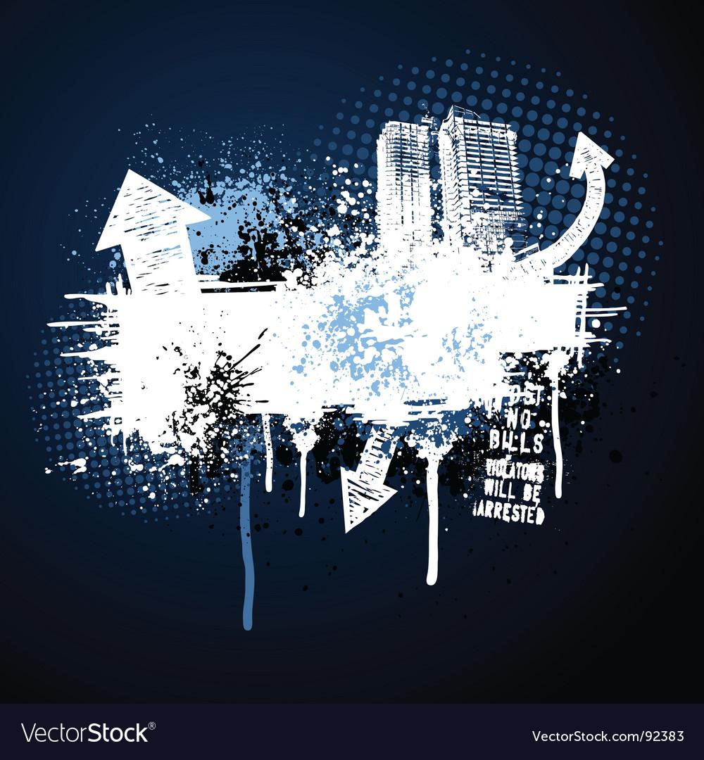 Dark blue grunge city frame