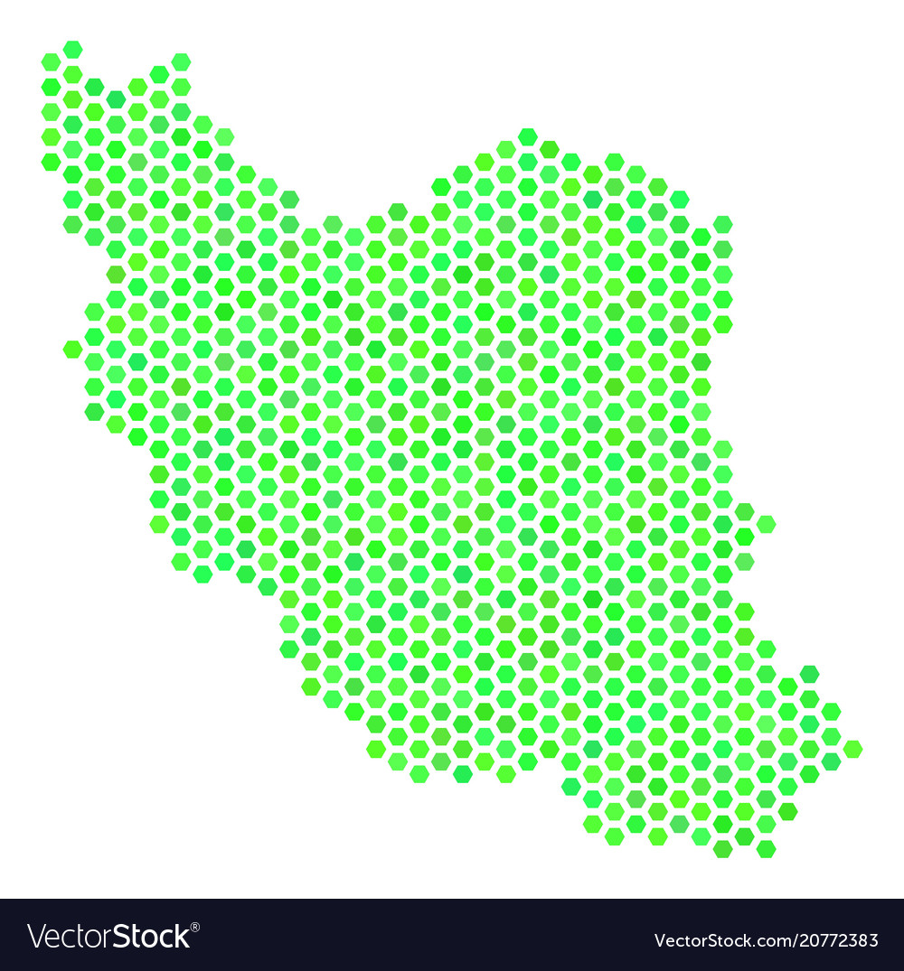 Green Hex Tile Iran Map Royalty Free Vector Image