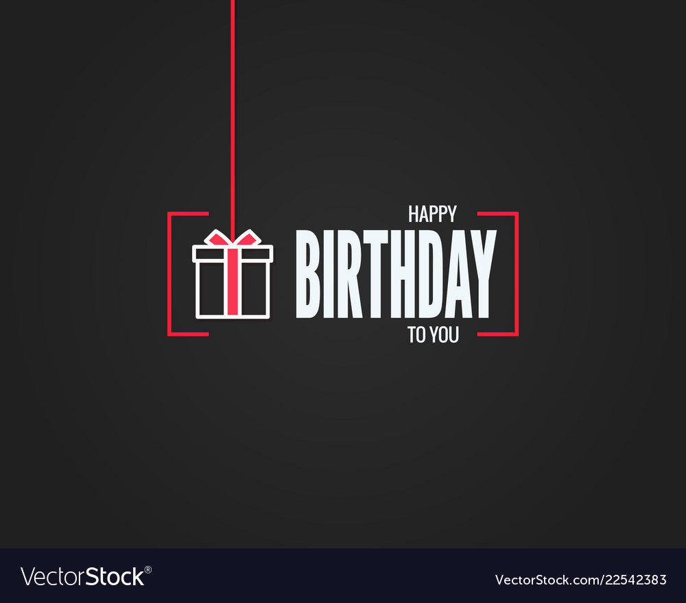 Happy birthday sign birthday gift box linear card