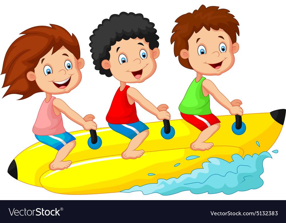 Happy kids riding a banana boat vector image