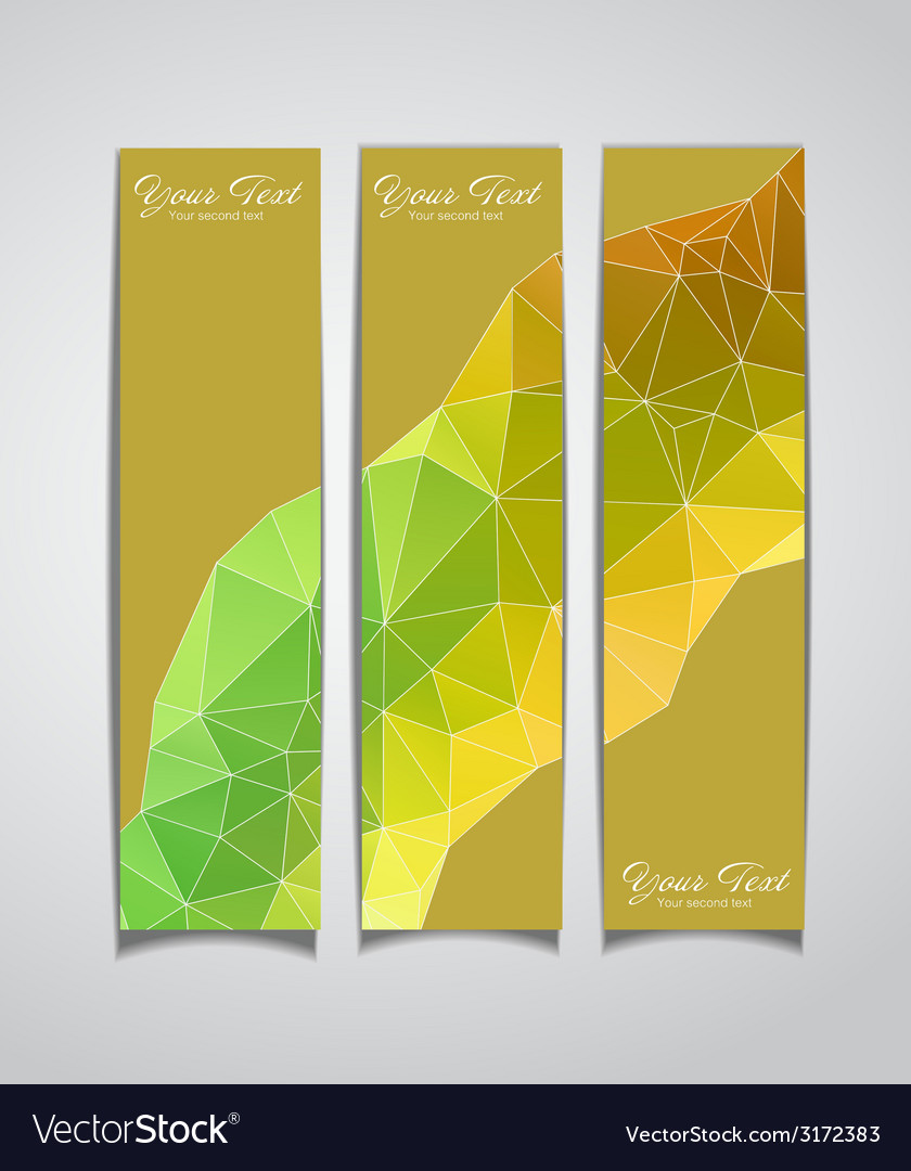 Set of three yellow geometric banners