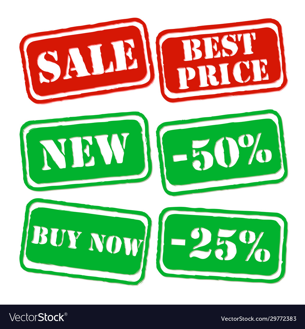 Set sale banners in green and red colors