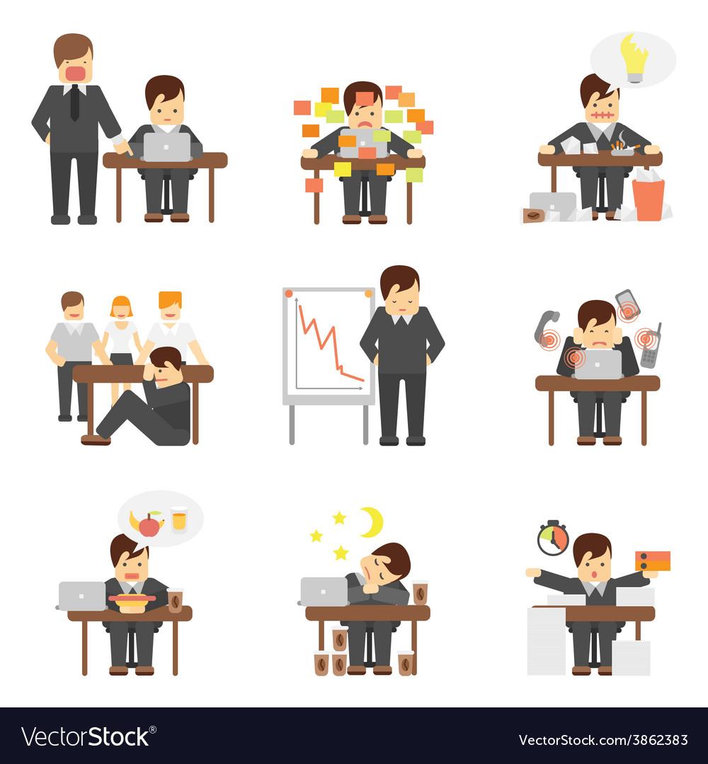 Stress at work icons set vector image