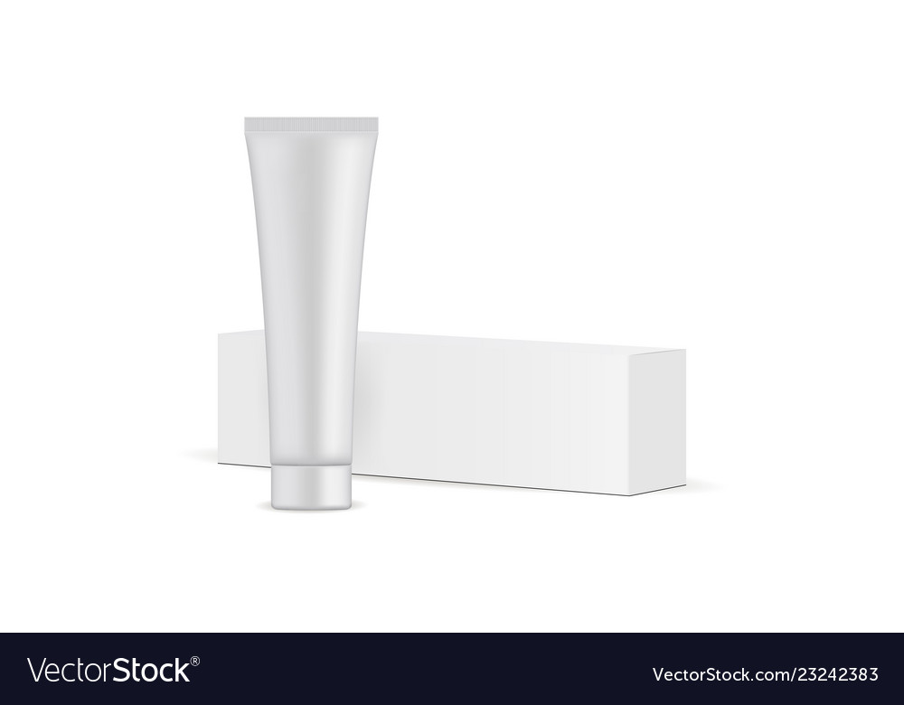 Toothpaste Tube And Cardboard Box Mockup Vector Image