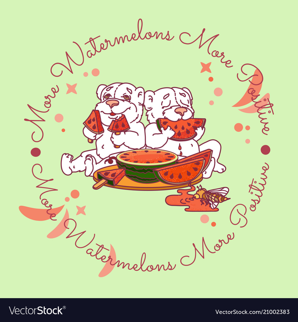 Two cute bears eats a slice of watermelon vector image