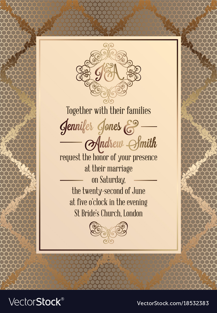 Vintage baroque style wedding invitation card vector image stopboris Choice Image