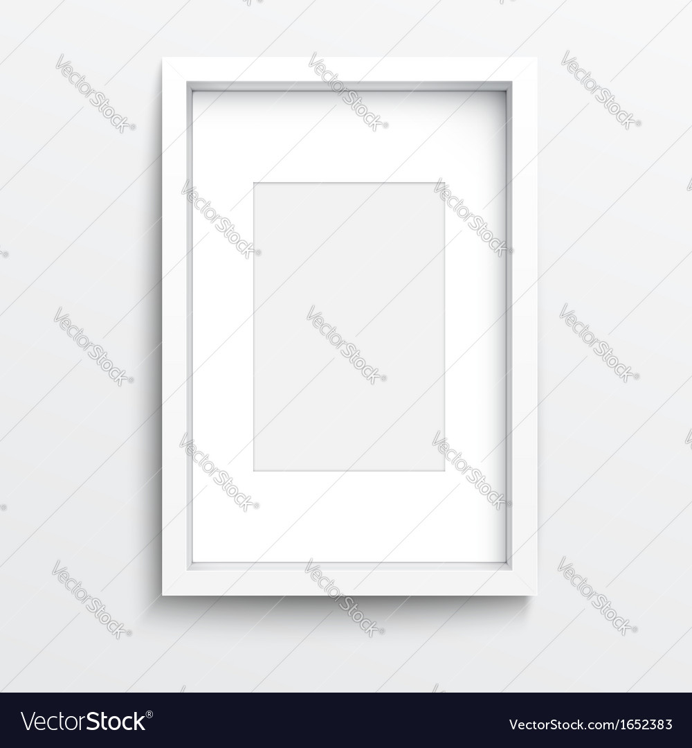 White vertical frame on gray wall Royalty Free Vector Image