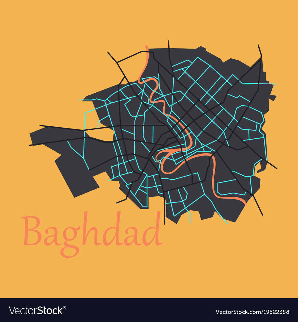 Baghdad city map - iraq flat isolated on Vector Image