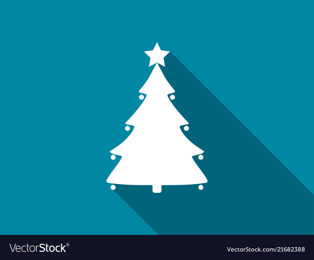 Christmas tree flat icon with long shadow