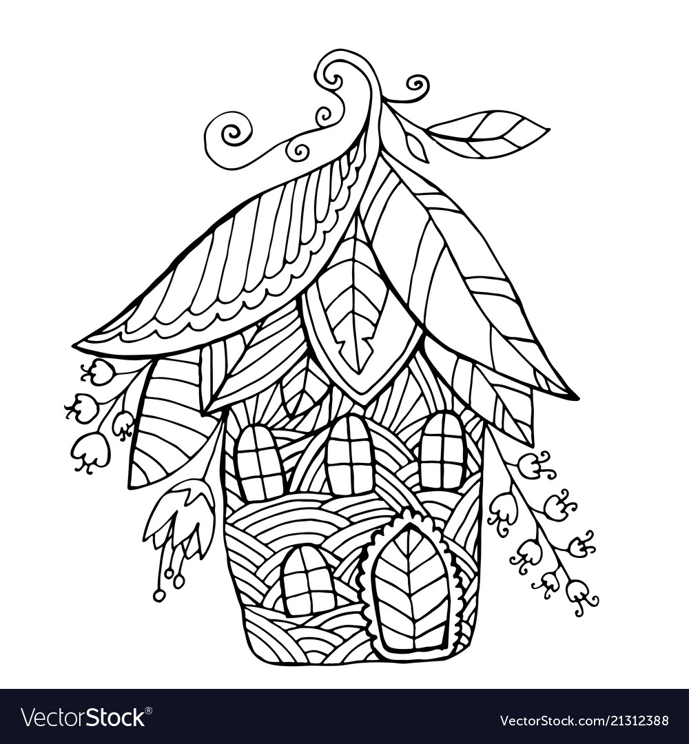 Fairy house in form flowers and leaf