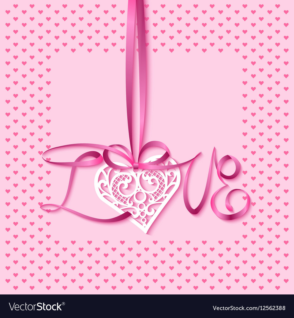 Greeting card with a lace heart on a satin ribbon