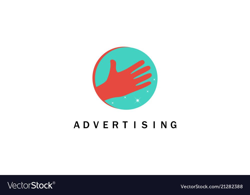 Hand advertising logo