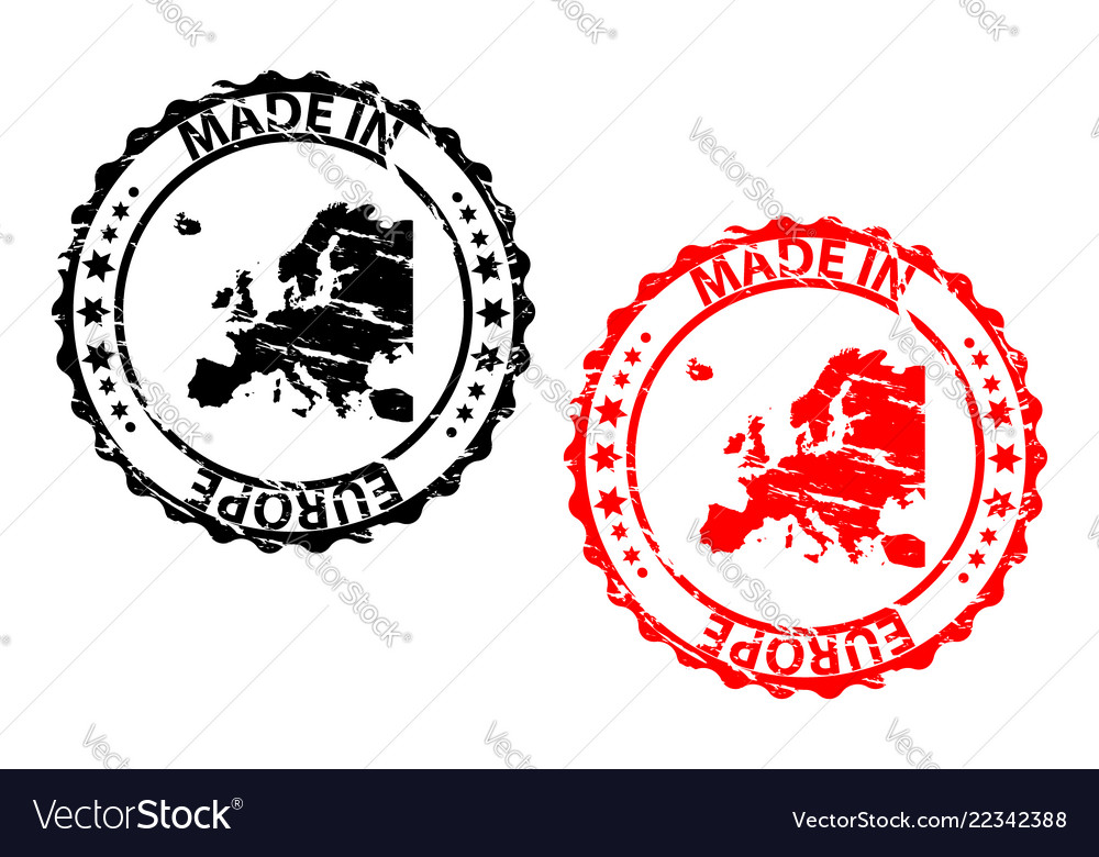 Made in europe rubber stamp vector image on VectorStock