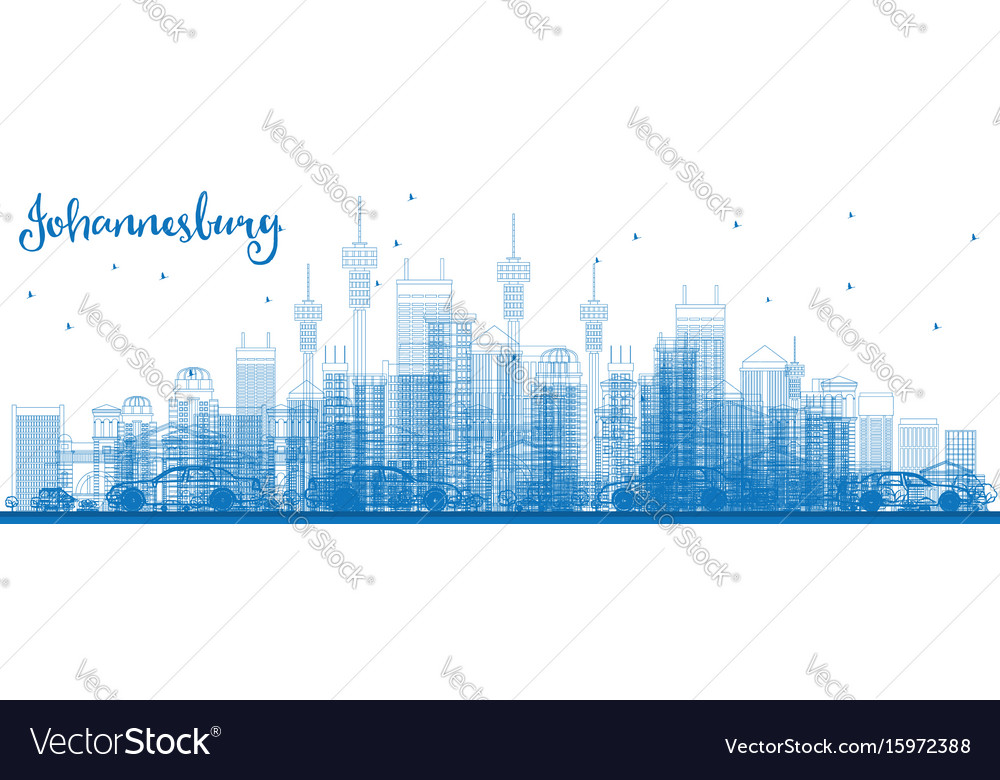 Outline johannesburg skyline with blue buildings vector image thecheapjerseys Images