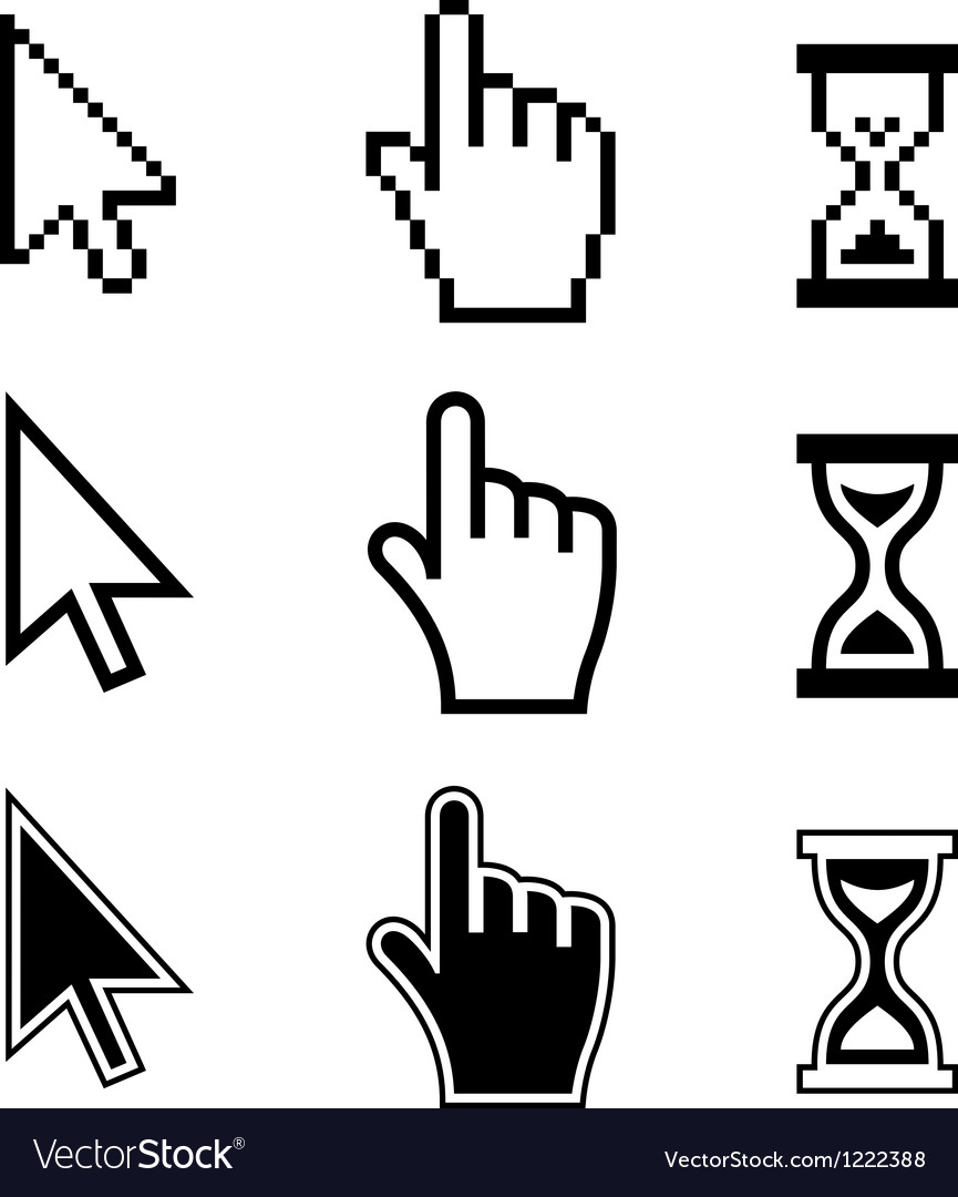 Pixel cursors icons Hand Arrow Hourglass