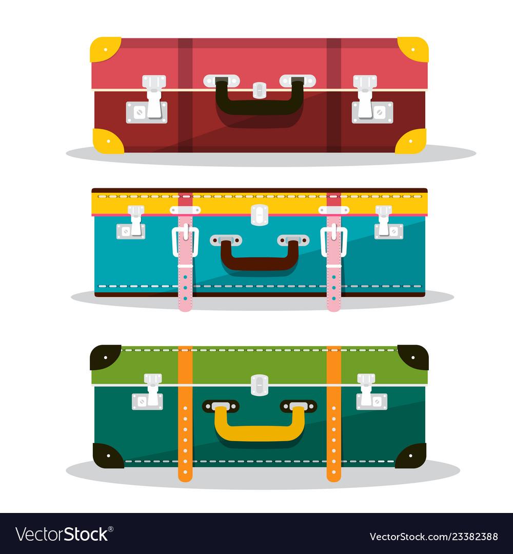 Retro suitcases suitcase icons isolated on white