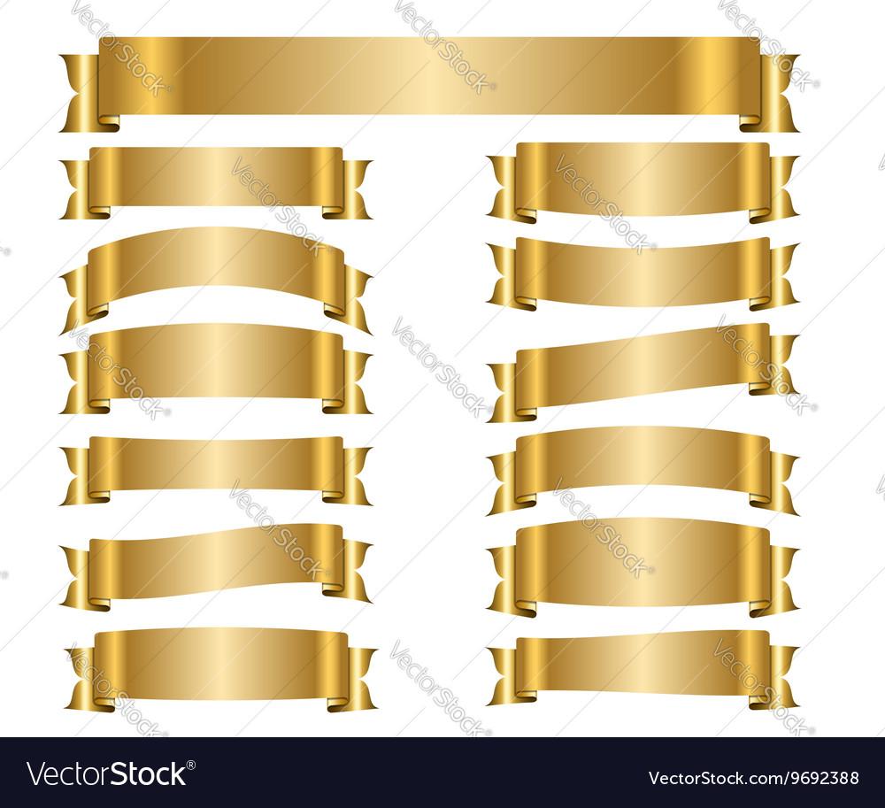 Ribbon gold banners set vector image