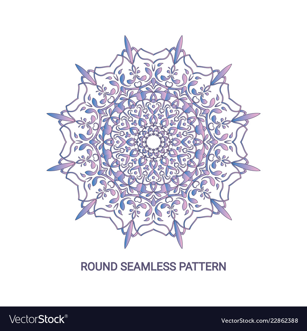 Round gradient mandala with floral pattern eps 10
