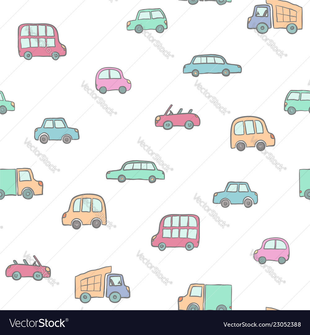 Seamless pattern hand drawn cute cartoon cars