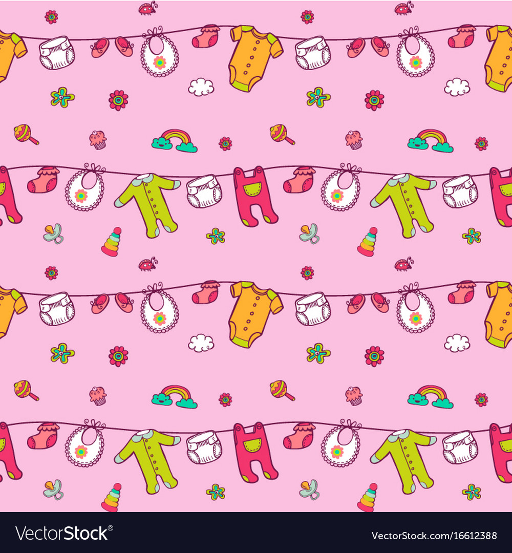 Seamless pattern with cute baby clothes