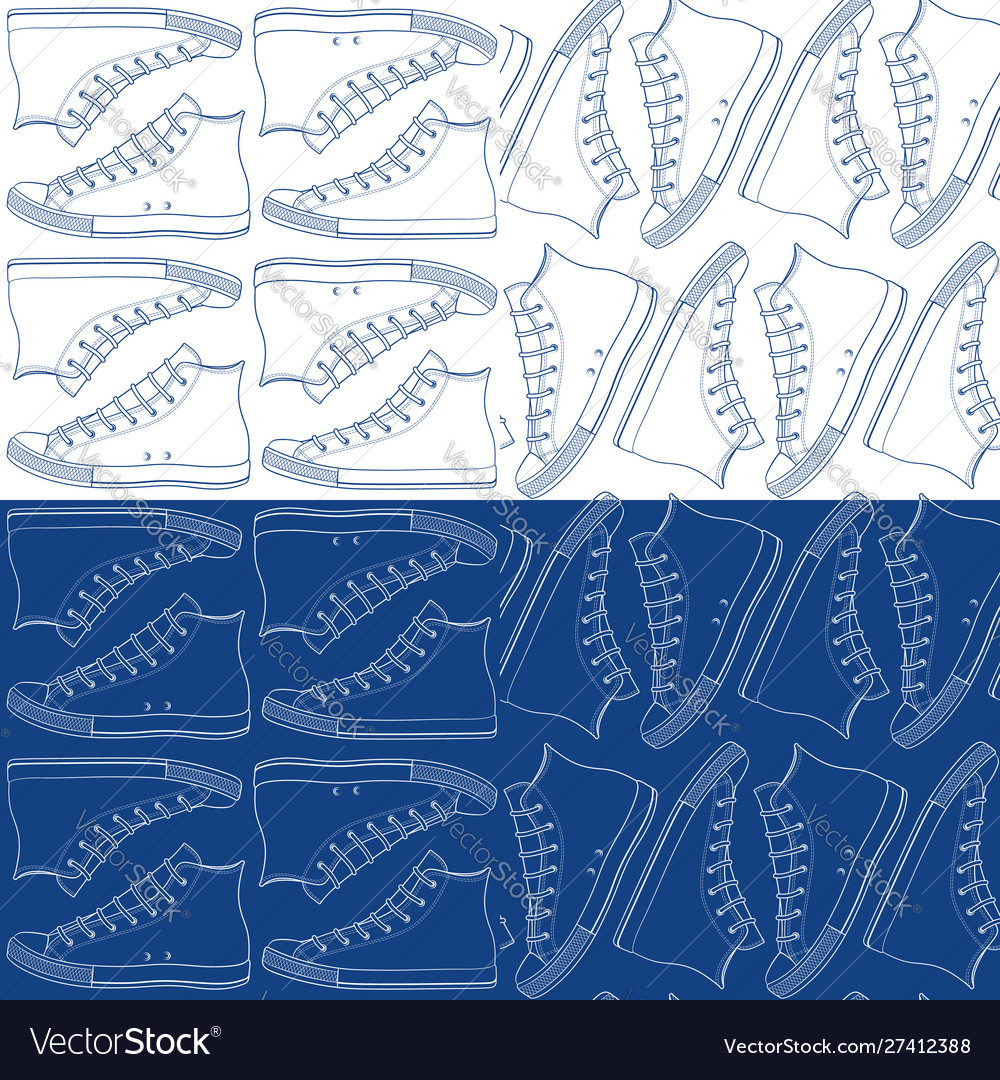 Set seamless patterns with sneakers gumshoes