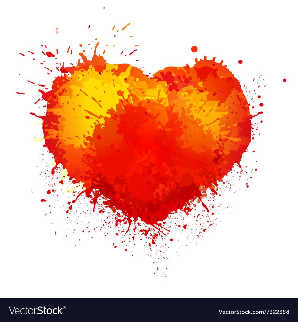 Trendy watercolor grunge paint splash heart