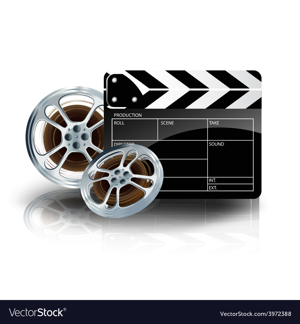 Video film tape with cinema clapper and filmstrip