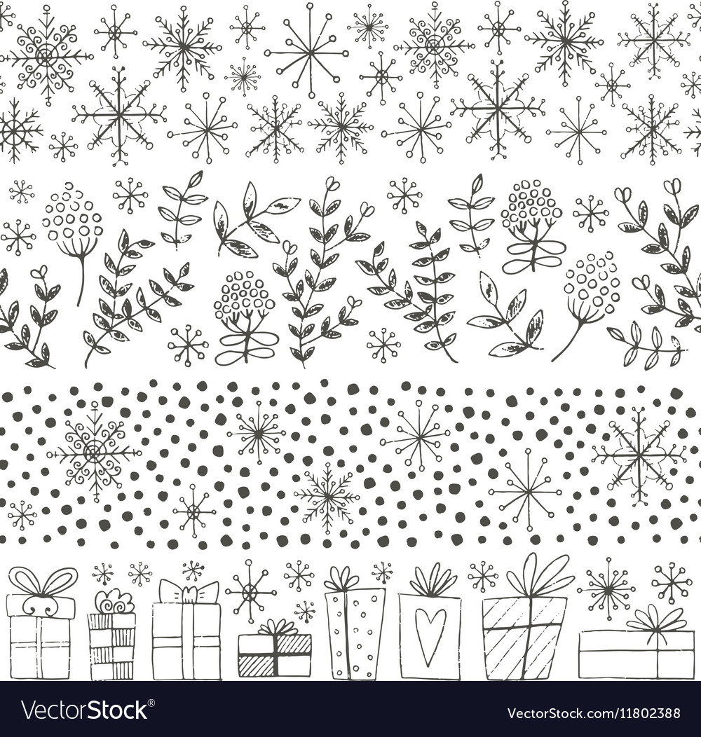 Winter hand drawn seamless borders