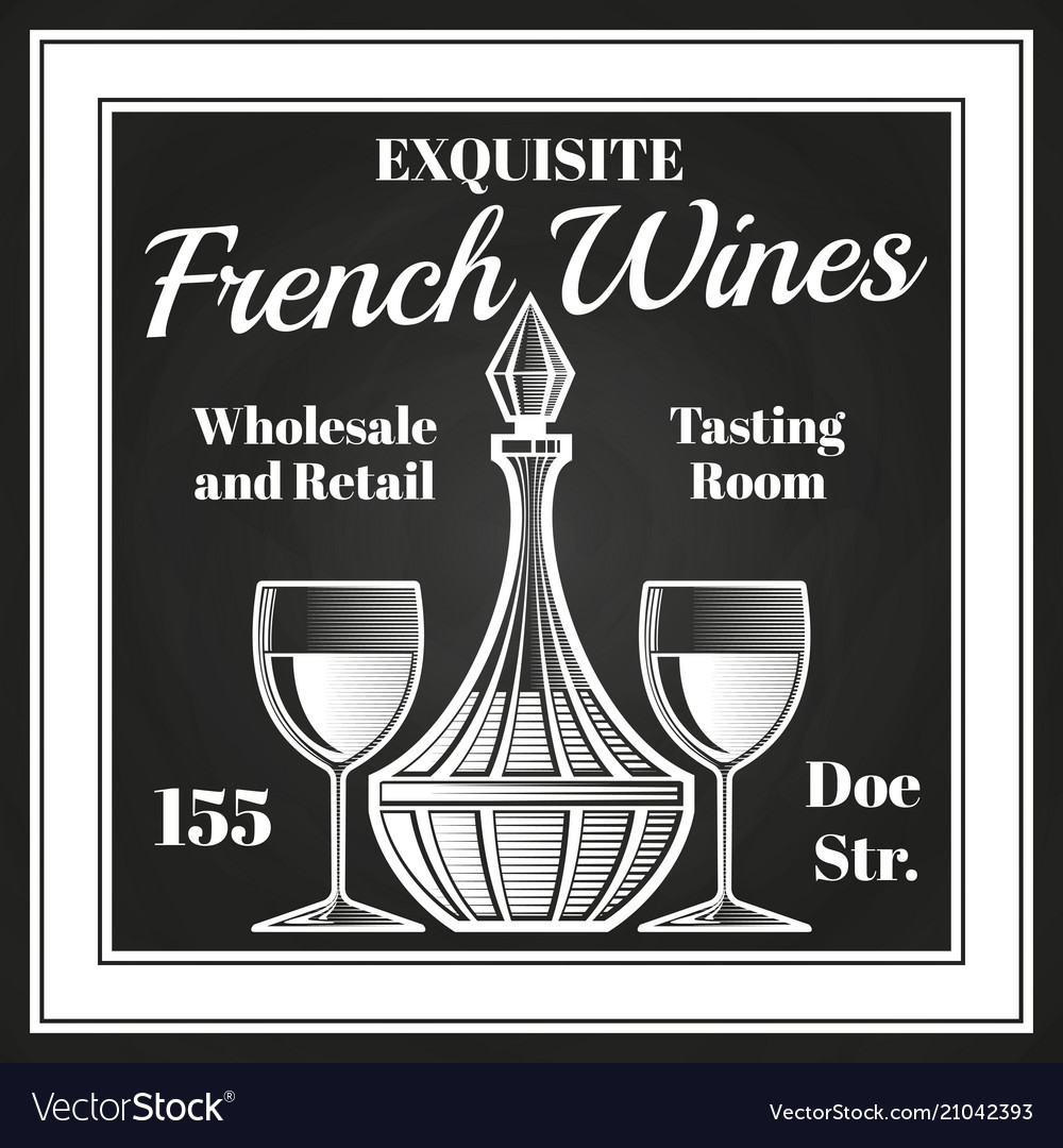 Engraving style wine label design