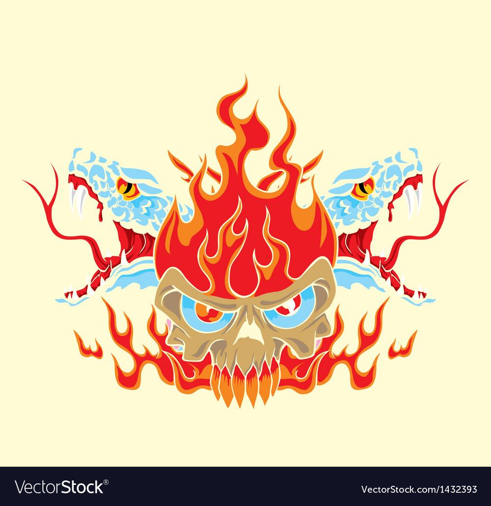 Fire skull and snake