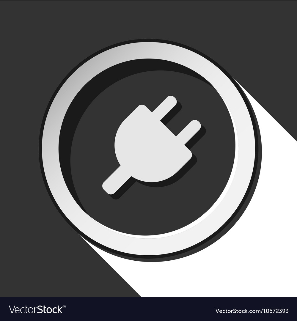 Icon - electrical plug symbol with shadow