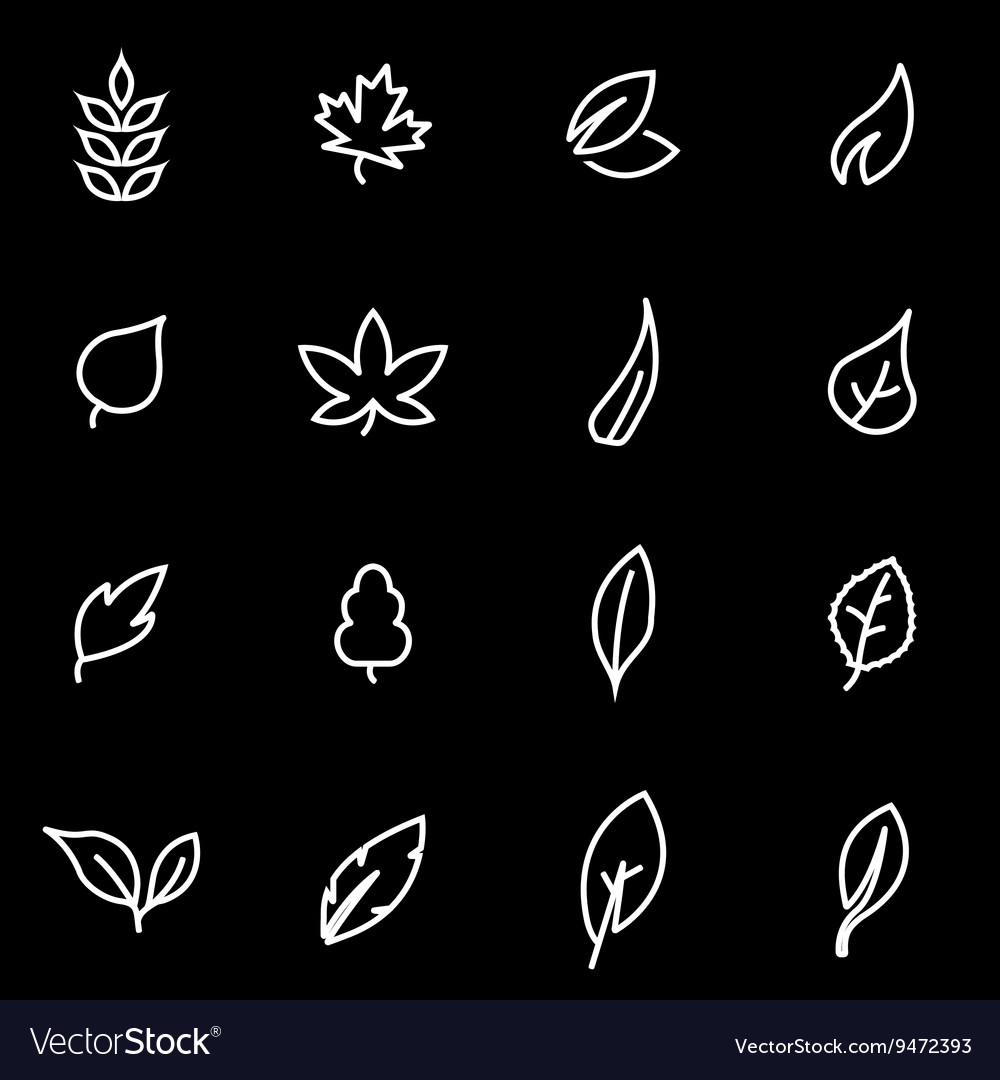 Line leaf icon set