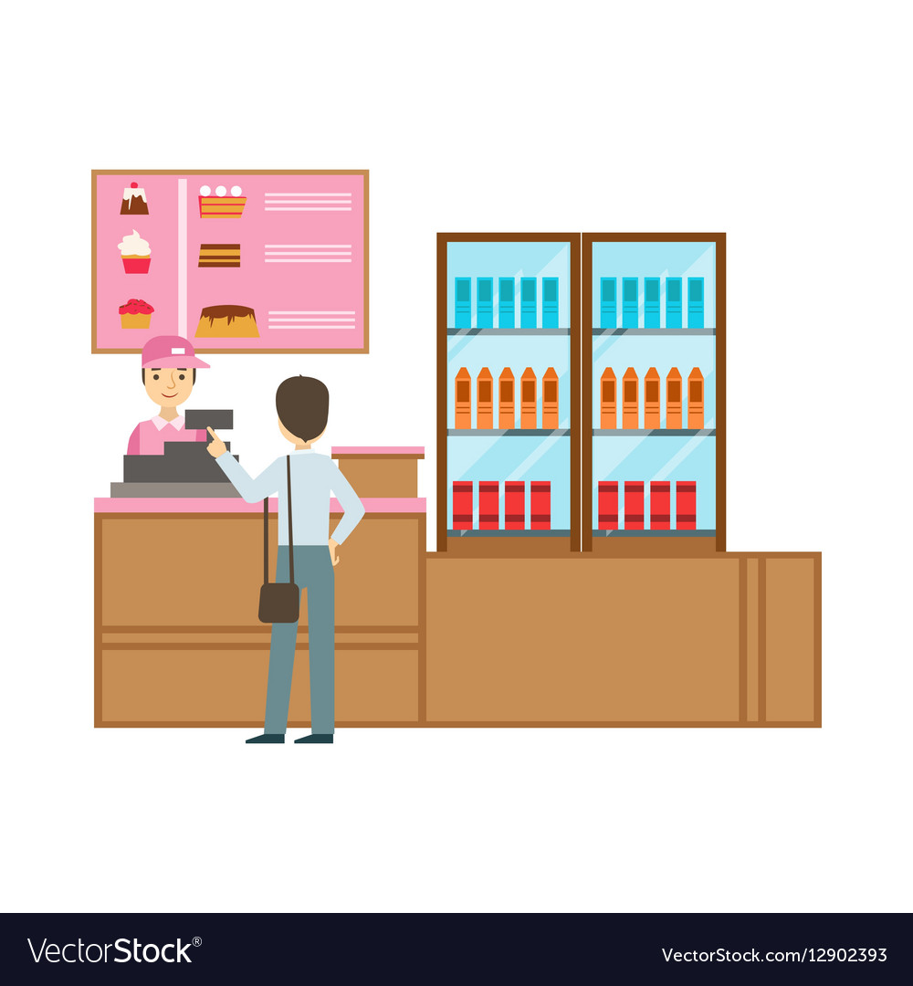 Man Ordering From Cashier In Pink Uniform Smiling