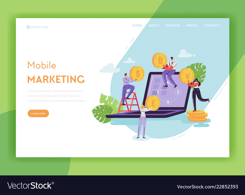 Mobile marketing landing page template banking