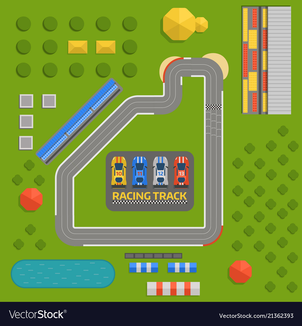 Race car sport track curve road top view