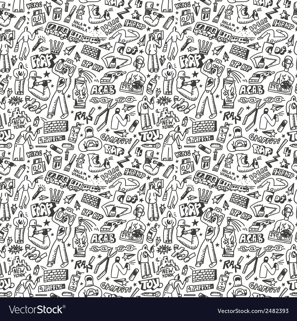 Raphip hop graffiti seamless background vector image