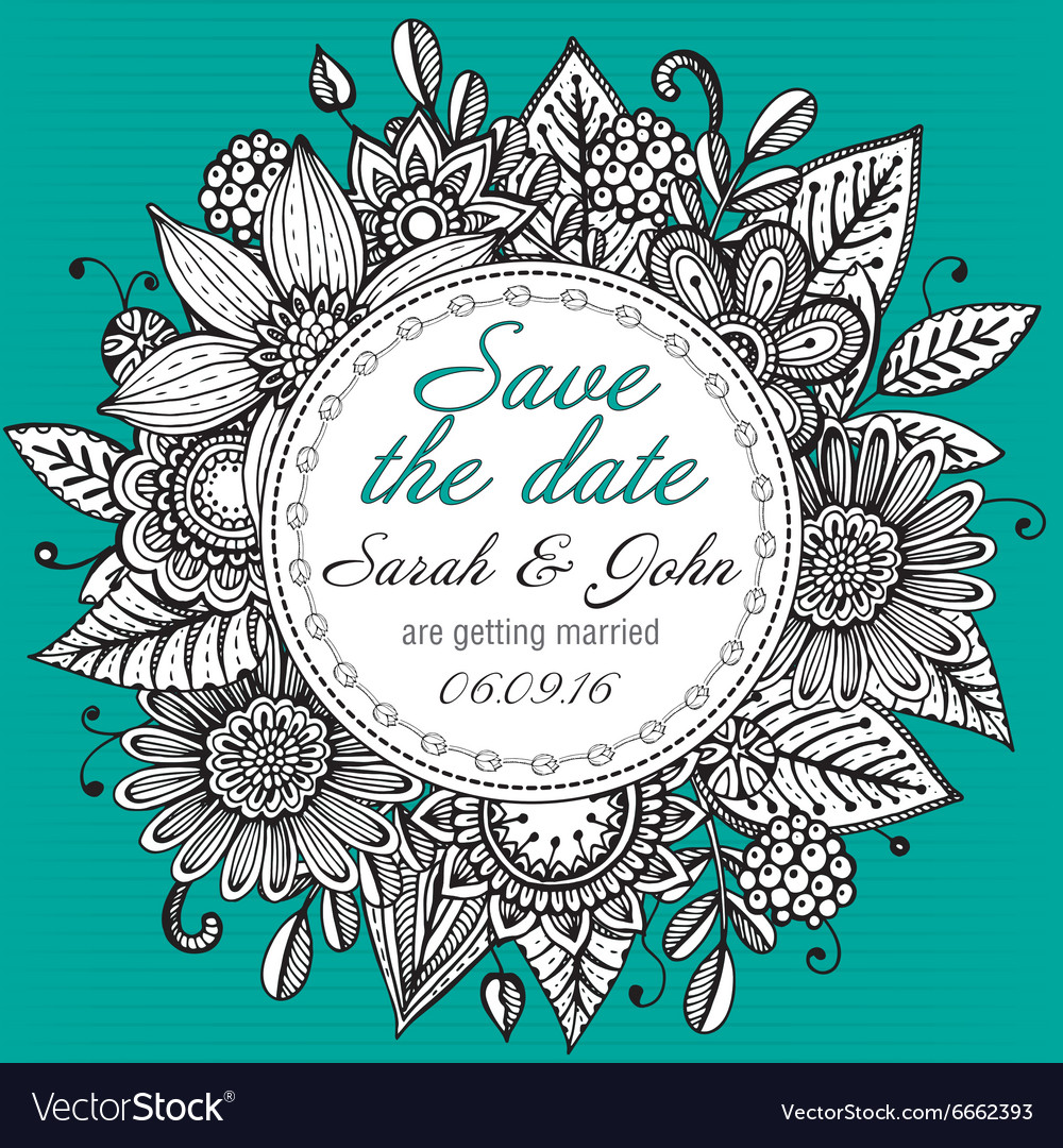 Save the date card with hand drawn doodle fancy