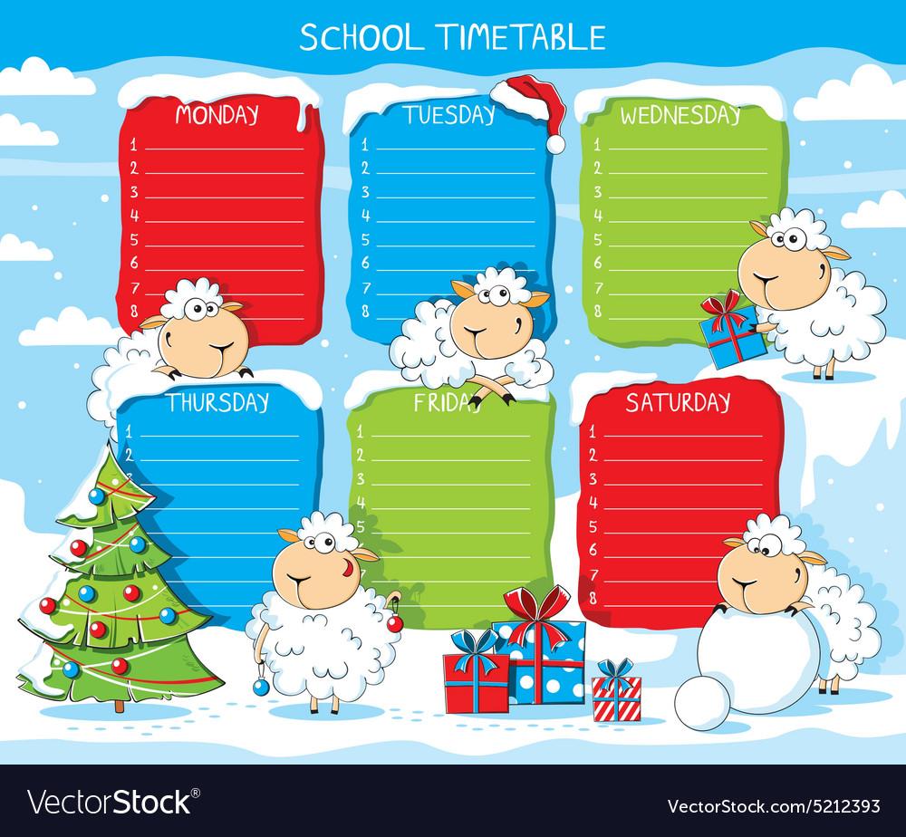 School timetable funny sheep