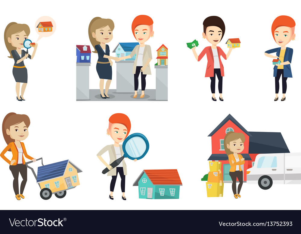 Set of real estate agents and house owners