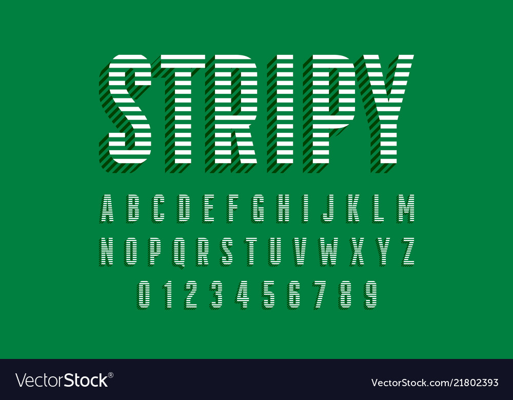 Stripy font design alphabet letters and numbers