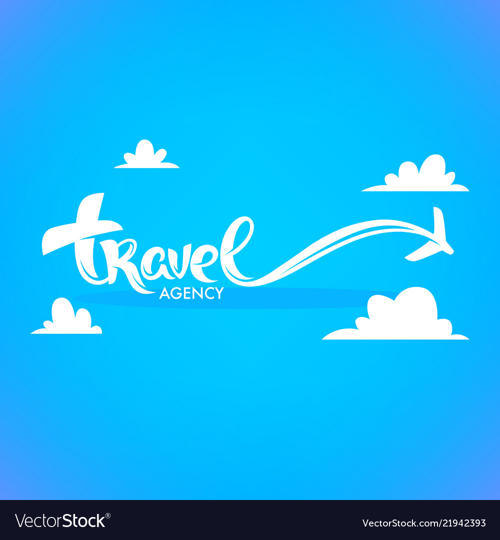 Travel agency lettering logo with white clouds