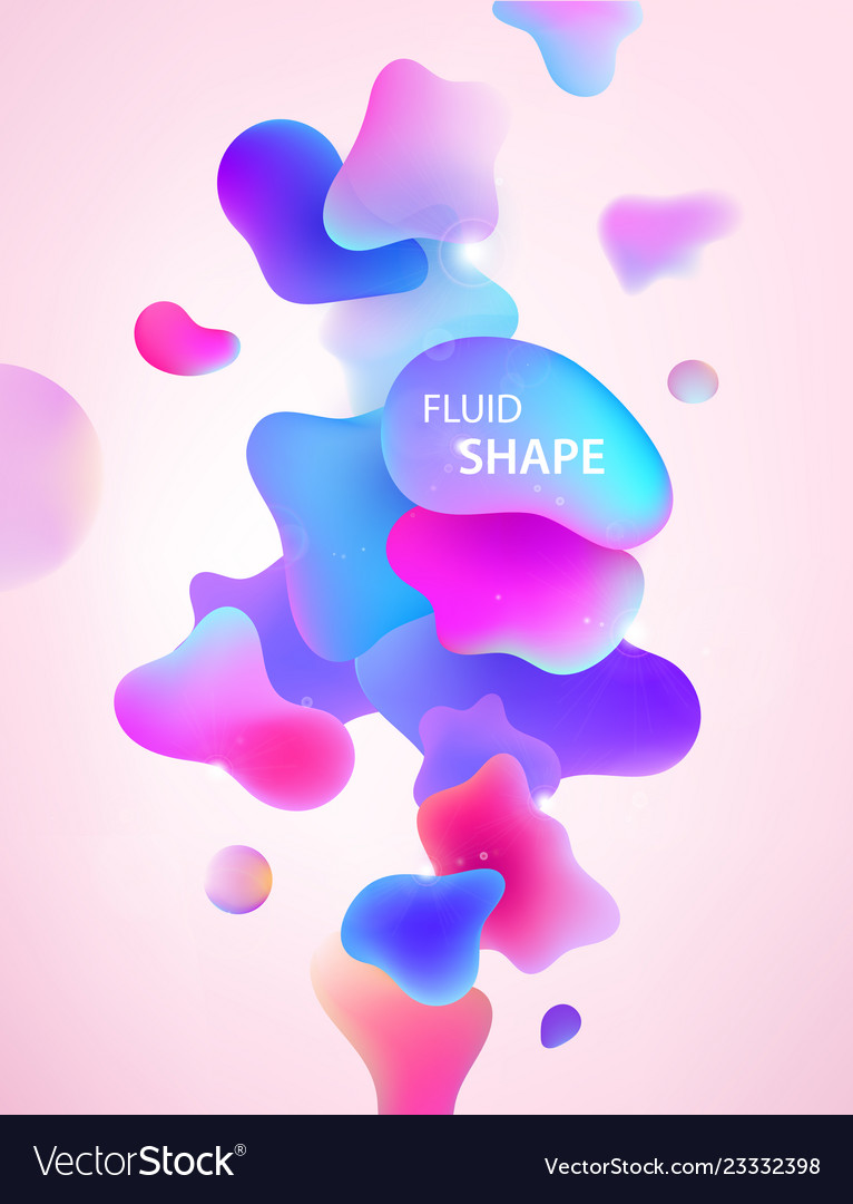 Abstract 3d blue pink and purple gradient drop