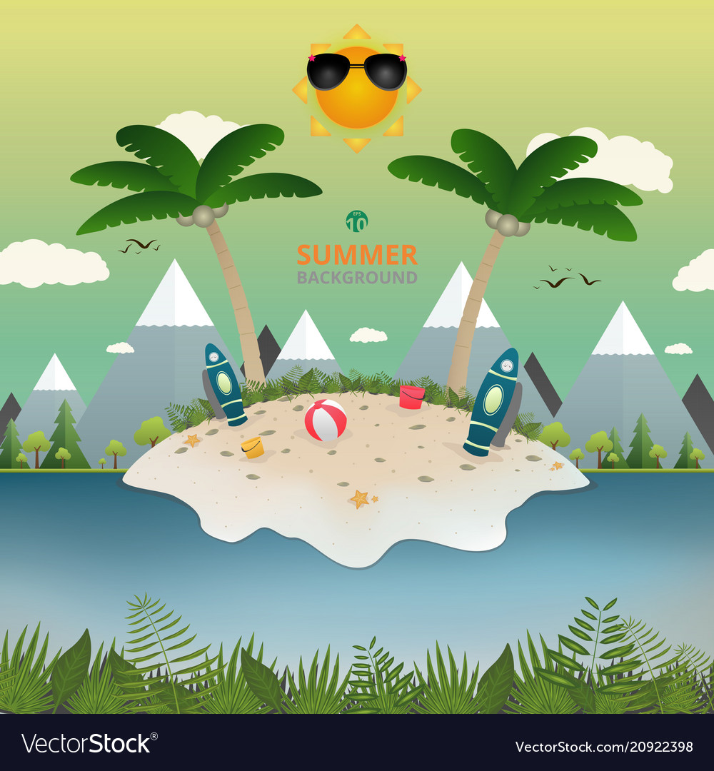 Abstract of summer with island story background