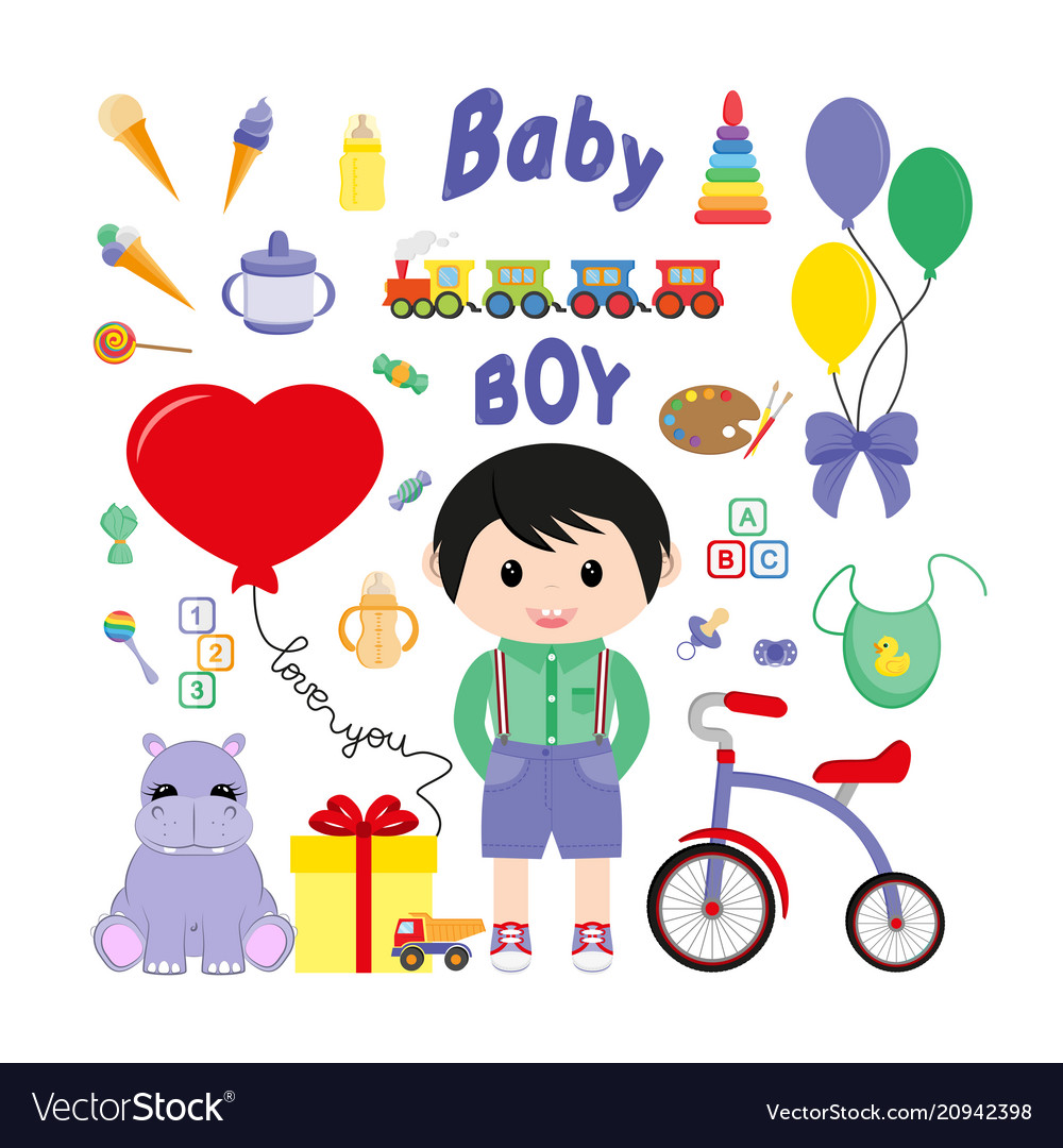Baby icons for boys icon flat