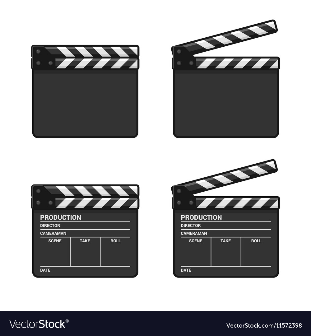 Blank Clapper Board Set on White Background