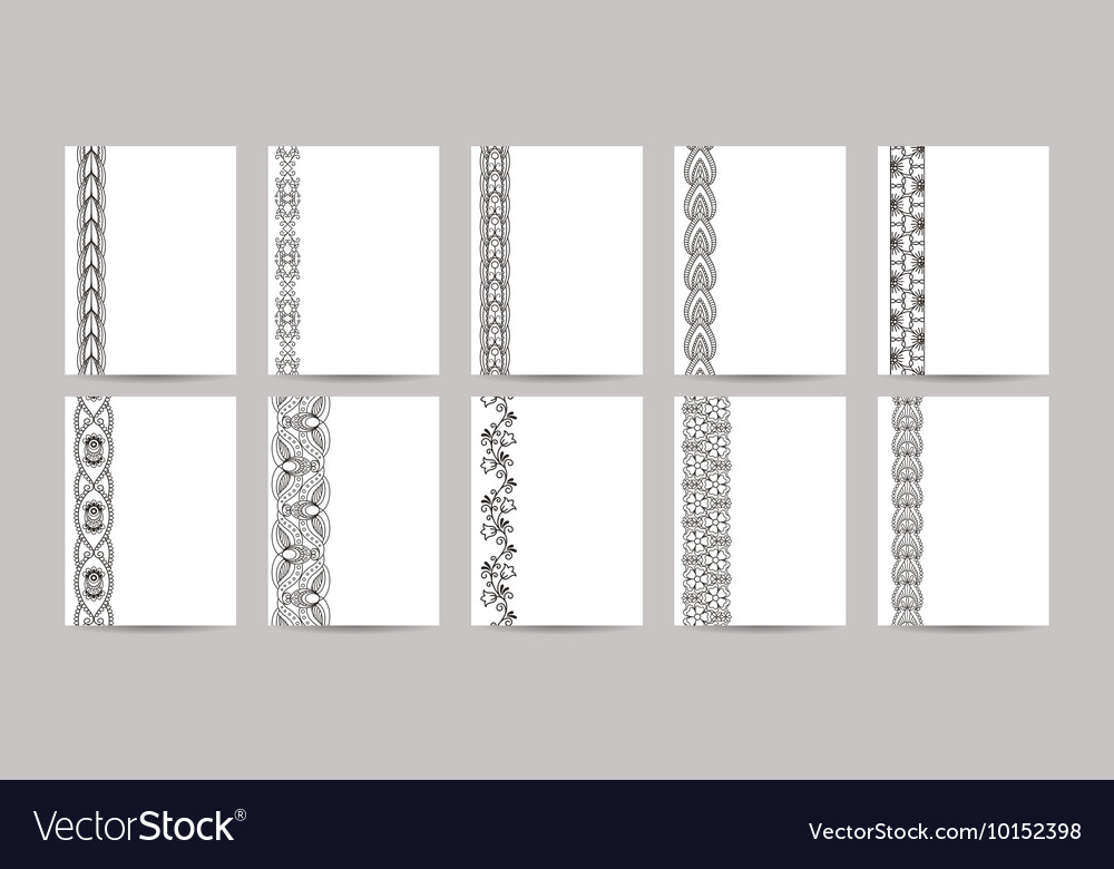 Business cards with black ornamental borders vector image
